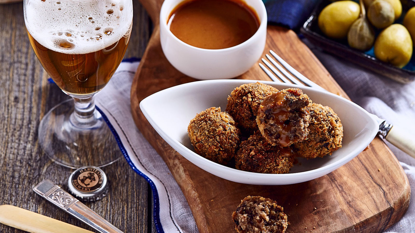 Haggis bon bons with a Talisker Whisky Brose